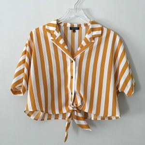 [Topshop] Yellow Striped Button Up Tie Blouse